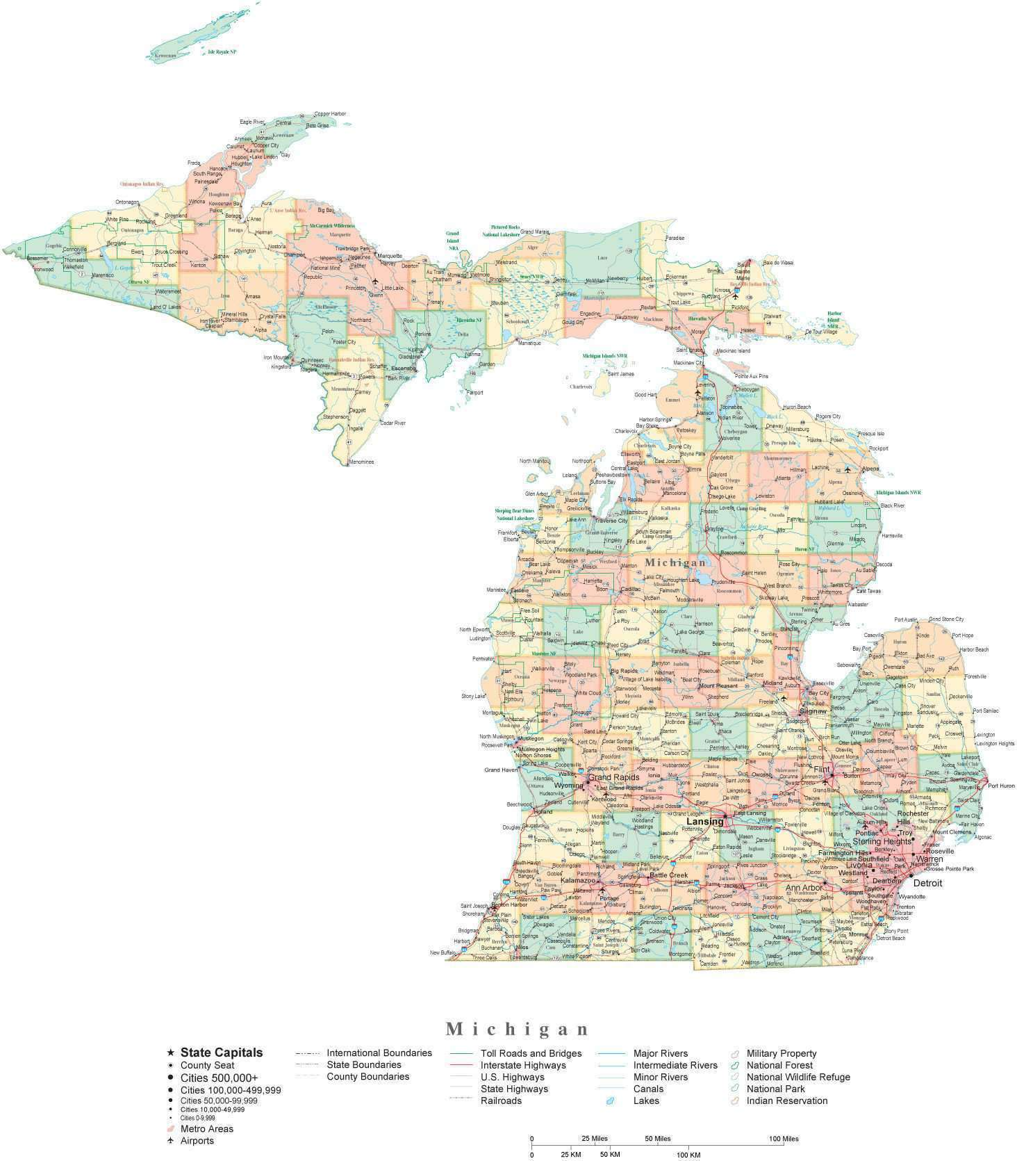 Detailed Michigan Cut-Out Style Digital Map with Counties, Cities, on map of wisconsin and minnesota, map of michigan states, map of cass city michigan, map of clarkston michigan, map of lansing michigan, map of michigan counties, map of central michigan, map of indiana and michigan, map of michigan highways, upper michigan map cities, map of ohio, map of south east michigan, map of michigan showing canton, map of michigan school districts, map of detroit, map of u p michigan, map of lake michigan, map of westland michigan, map of hudsonville michigan, map of jackson michigan,