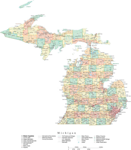 Detailed Michigan Cut-Out Style Digital Map with Counties, Cities, Highways, and more