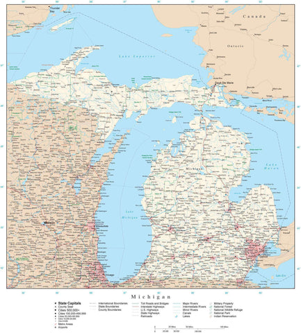 Poster Size Michigan Map with County Boundaries, Cities, Highways, National Parks, and more