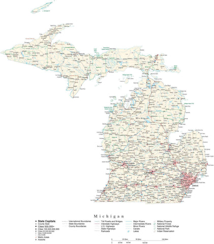 Poster Size Michigan Cut-Out Style Map with County Boundaries, Cities, Highways, National Parks, and more