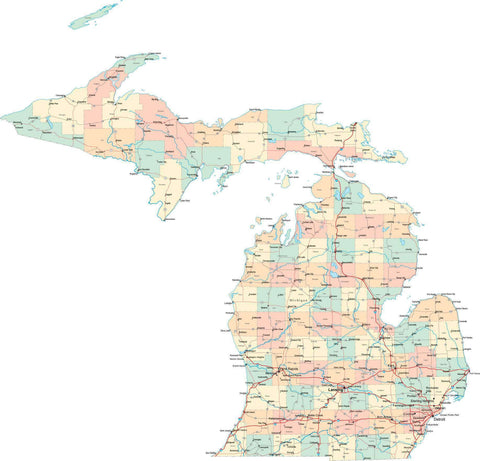 Michigan State Map - Multi-Color Style - Fit Together Series