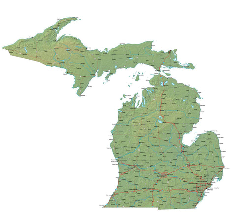 Digital Michigan map in Fit Together style with Terrain MI-USA-852104