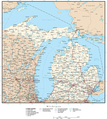 Michigan Map with Capital, County Boundaries, Cities, Roads, and Water Features