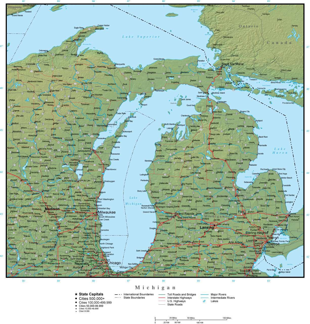 Michigan Map With Cities And Lakes.Michigan State Map Plus Terrain With Cities Roads Map Resources