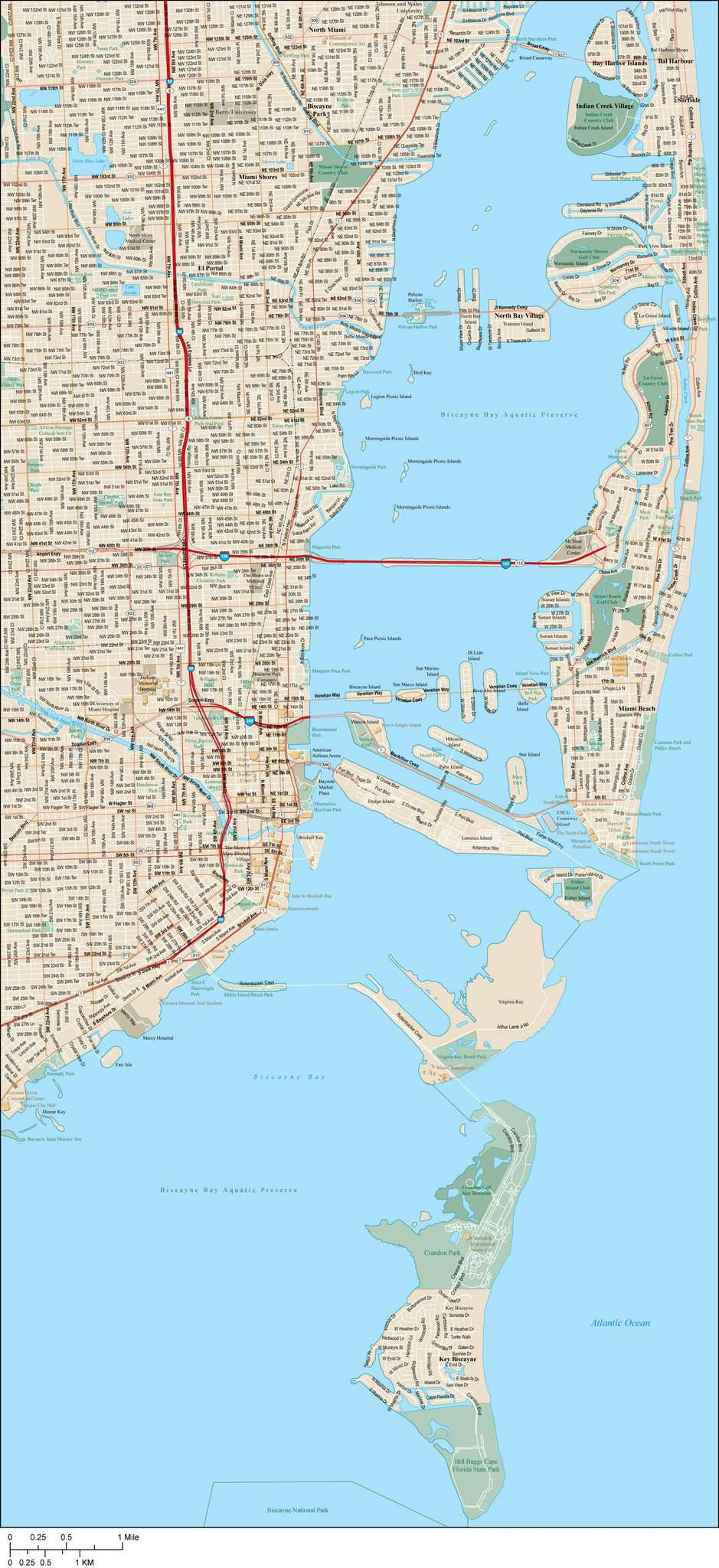 Miami Map With Local Streets In Adobe Illustrator Vector Format