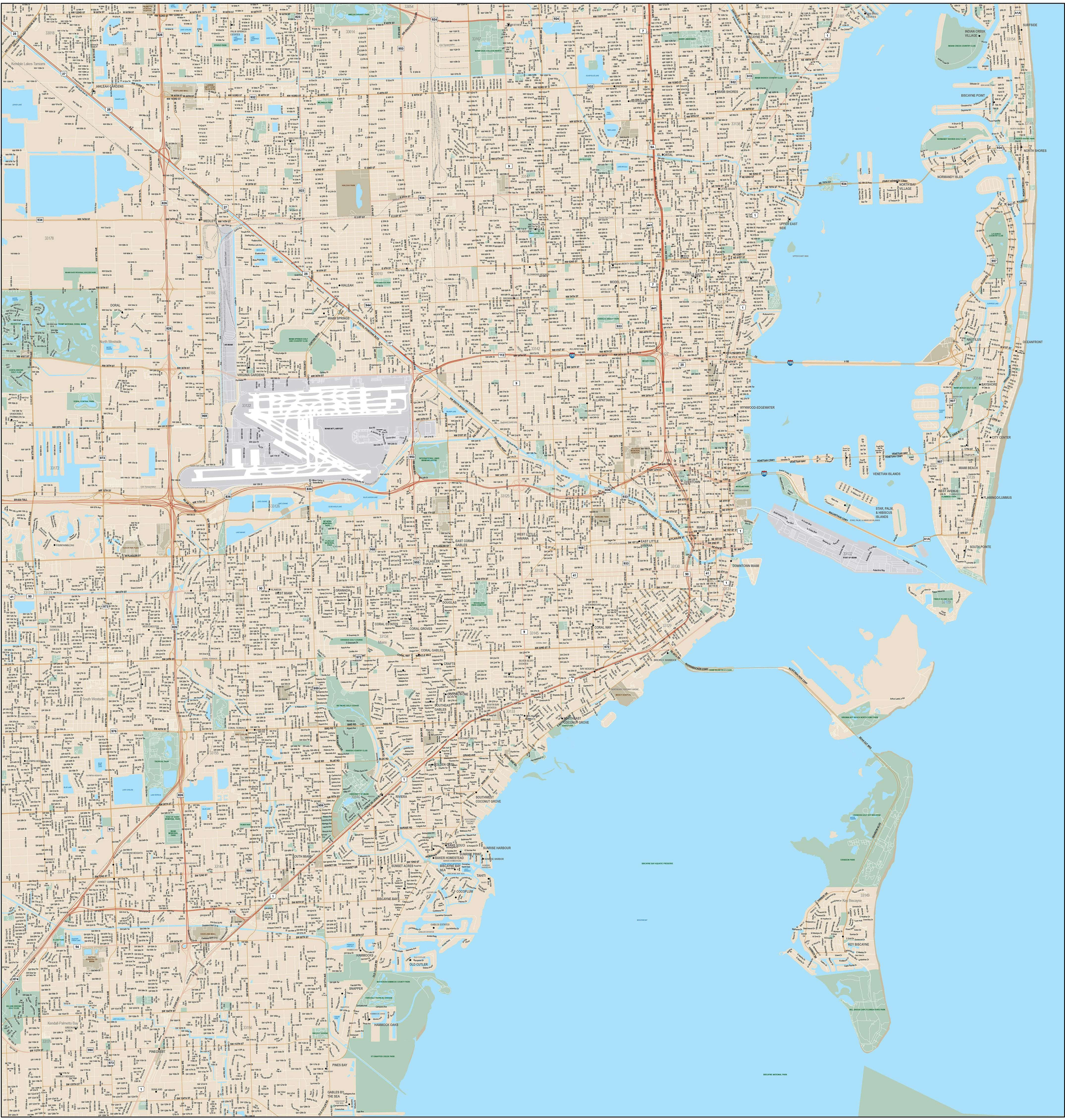 miami map with local streets in adobe illustrator vector