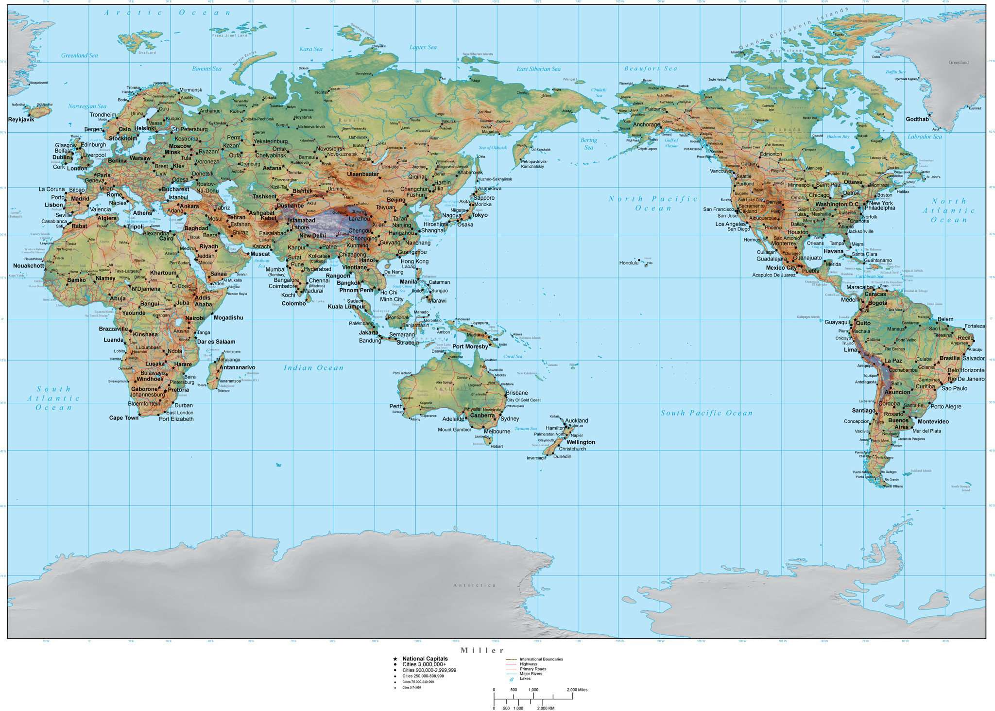 World Map With Terrain Asia Centered Miller Projection Map Resources