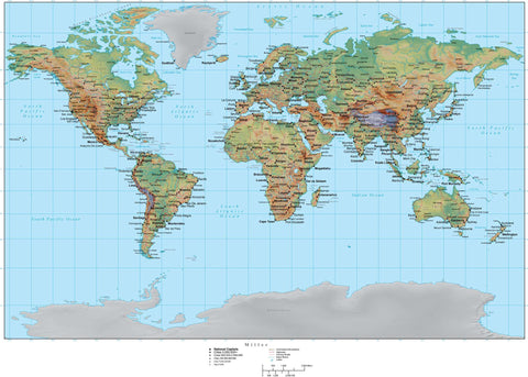 Digital Miller World Terrain map in Adobe Illustrator vector format with Terrain MILLER-955327