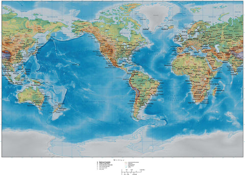 World Map with Land and Ocean Floor Terrain - Americas Centered - Miller Projection
