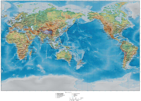 Miller World Map - Asia / Australia Centered - with Land and Ocean Floor Terrain