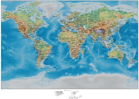 World Map with Land and Ocean Floor Terrain - Miller Projection