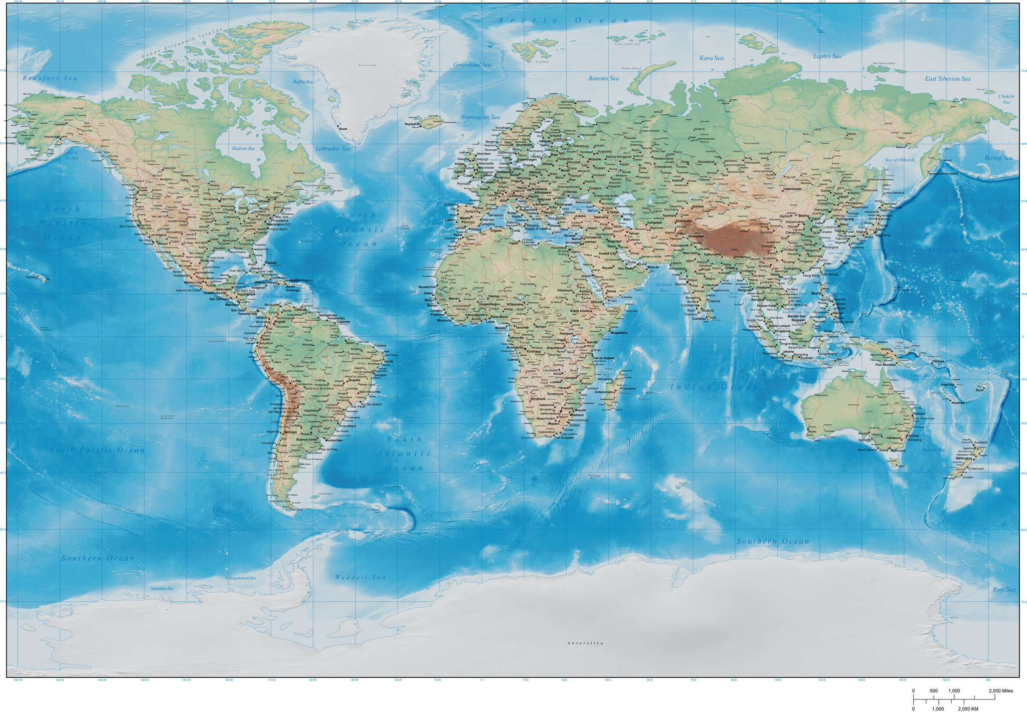Terrain World Map.Digital 35 X 22 Inch Terrain World Map In Adobe Illustrator Vector