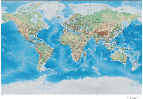35 x 22 Inch Poster Size World map with Land and Water Terrain - Miller Projection