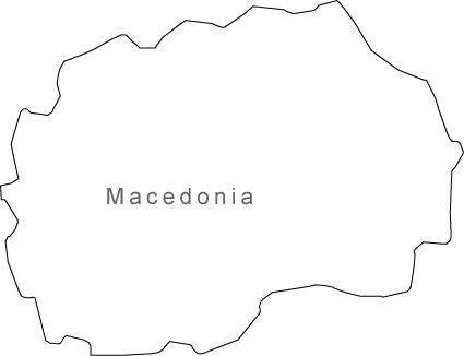 Digital Black & White Macedonia map in Adobe Illustrator EPS vector format