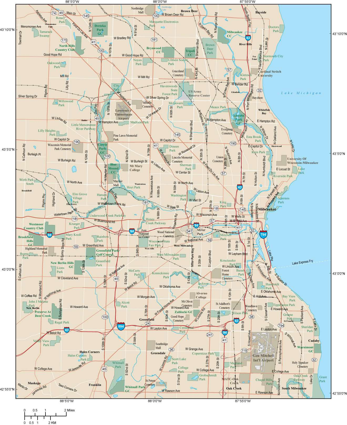 Milwaukee Map Adobe Illustrator vector format – Map Resources