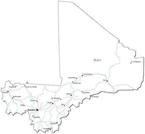 Mali Black & White Map with Capital, Major Cities, Roads, and Water Features