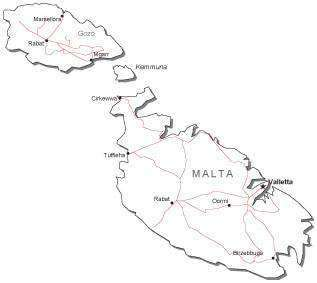 Malta Black & White Map with Capital Major Cities and Roads
