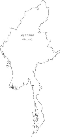 Digital Black & White Myanmar map in Adobe Illustrator EPS vector format