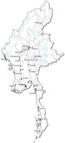 Myanmar Black & White Map with Capital, Major Cities, Roads, and Water Features