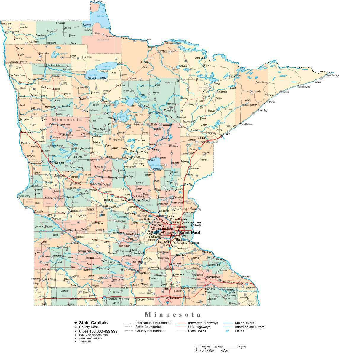 Minnesota State Map - Multi-Color Cut-Out Style - with Counties, Cities,  County Seats, Major Roads, Rivers and Lakes