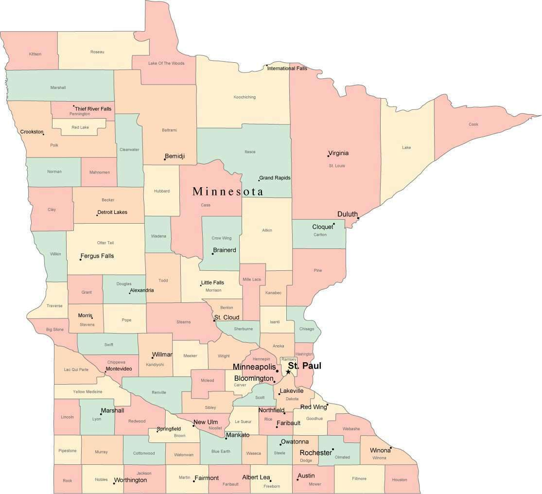 Multi Color Minnesota Map with Counties, Capitals, and Major Cities