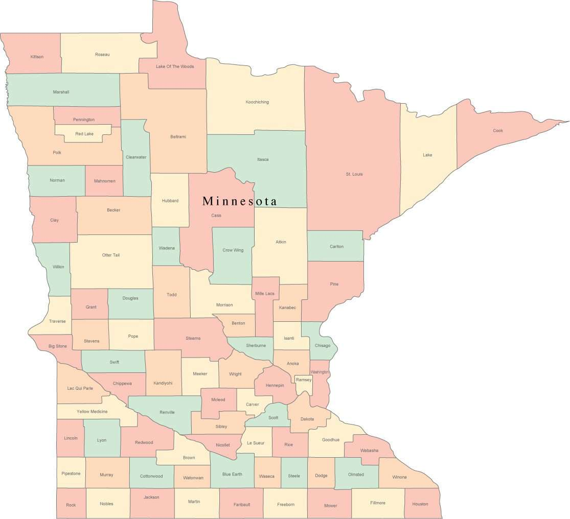 Multi Color Minnesota Map With Counties And County Names Map Resources