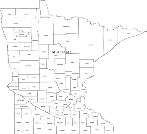 Black & White Minnesota Digital Map with Counties