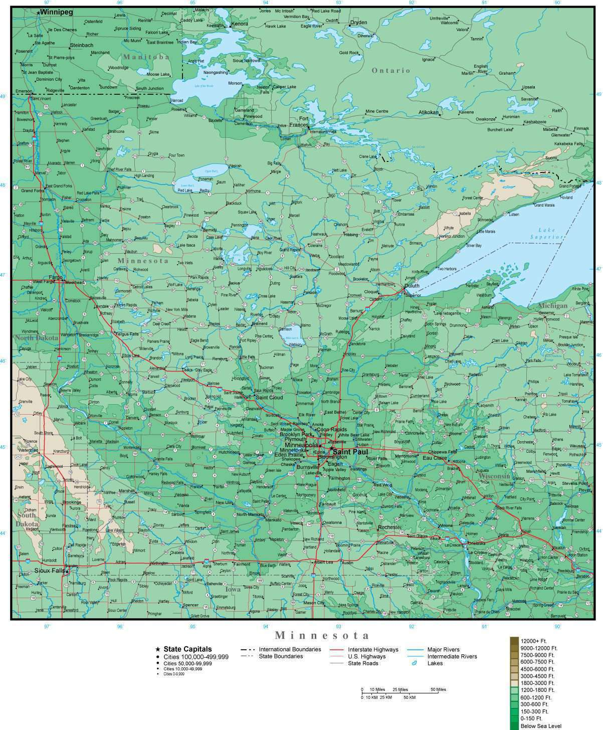 Digital Minnesota Contour map in Adobe Illustrator vector format MN ...