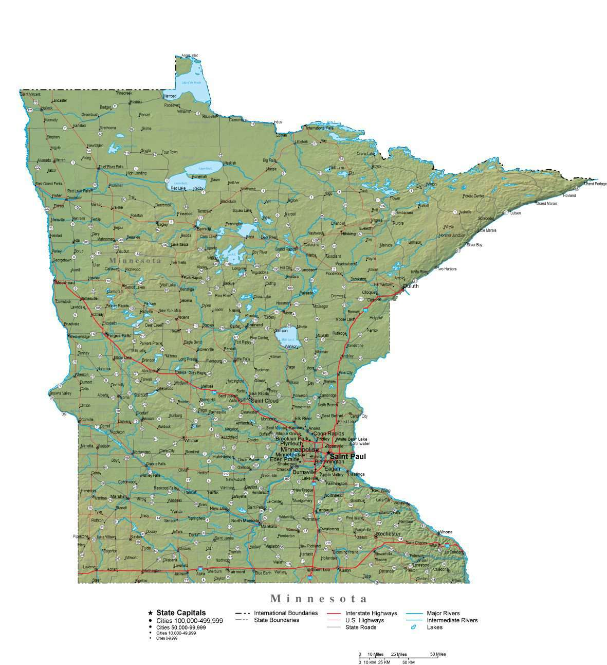 Minnesota Illustrator Vector Map With Cities Roads And Photoshop