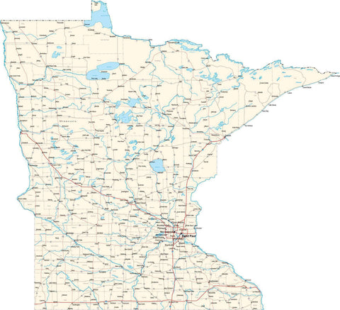 Minnesota State Map - Cut Out Style - Fit Together Series