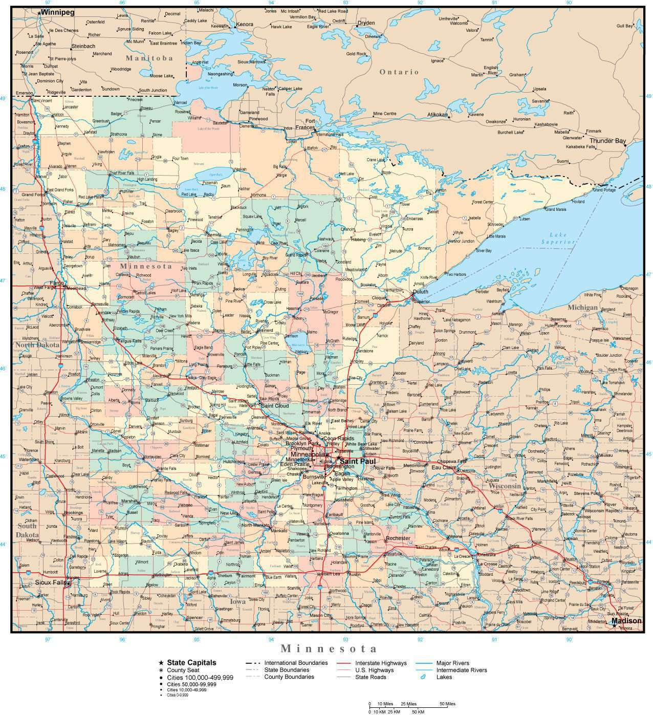 Minnesota Adobe Illustrator Map With Counties Cities County Seats