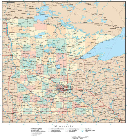 Minnesota Map with Counties, Cities, County Seats, Major Roads, Rivers and Lakes