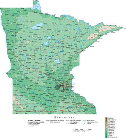 Minnesota Map  with Contour Background - Cut Out Style