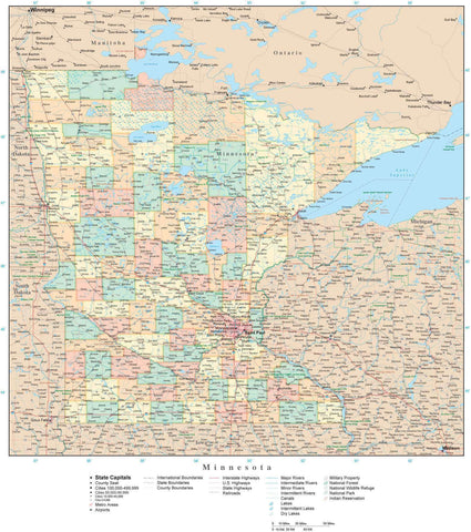 Detailed Minnesota Digital Map with Counties, Cities, Highways, Railroads, Airports, and more