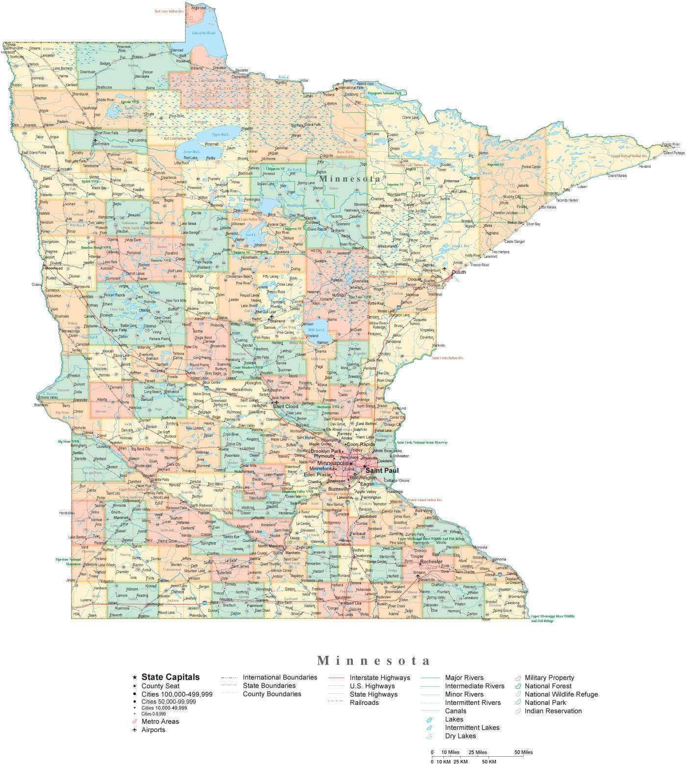 State Map of Minnesota in Adobe Illustrator vector format. Detailed ...