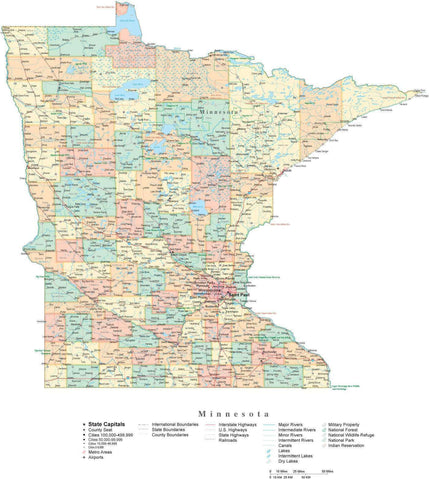 Poster Size Minnesota Cut-Out Style Map with Counties, Cities, Highways, National Parks and more