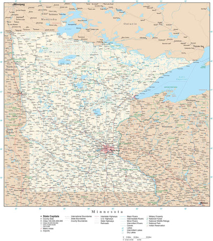 Poster Size Minnesota Map with County Boundaries, Cities, Highways, National Parks, and more