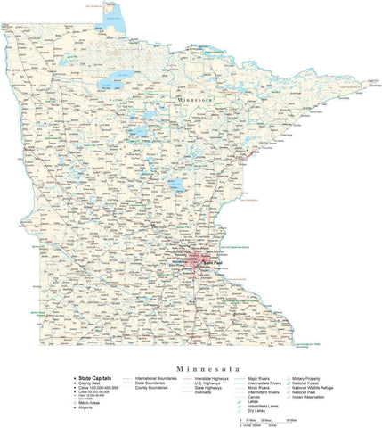 Poster Size Minnesota Cut-Out Style Map with County Boundaries, Cities, Highways, National Parks, and more