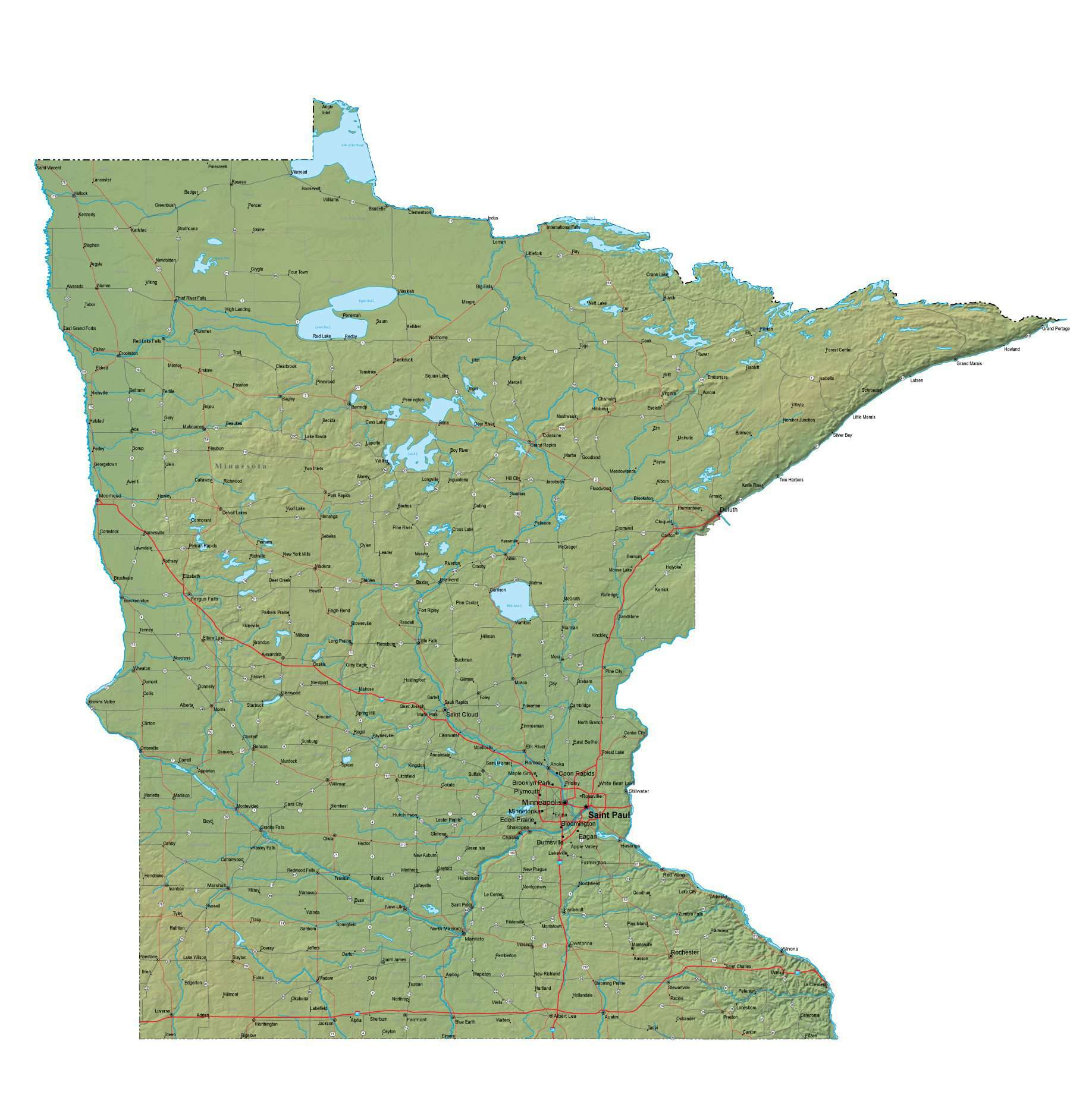 Minnesota Map - Cut Out Style - Fit Together Series Plus Terrain