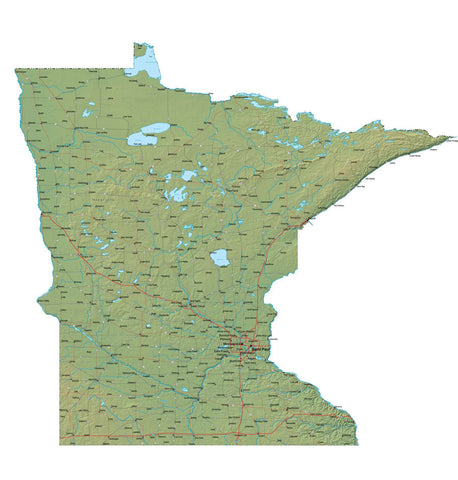 Digital Minnesota map in Fit Together style with Terrain MN-USA-852097