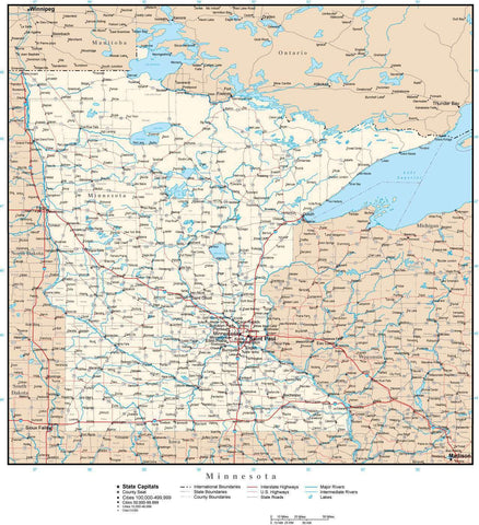 Minnesota Map with Capital, County Boundaries, Cities, Roads, and Water Features