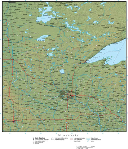 Digital Minnesota Terrain map in Adobe Illustrator vector format with Terrain MN-USA-942200