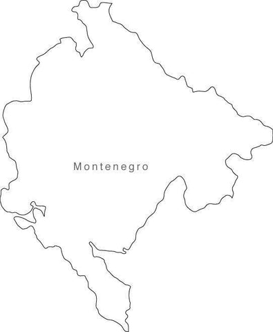 Digital Black & White Montenegro map in Adobe Illustrator EPS vector format