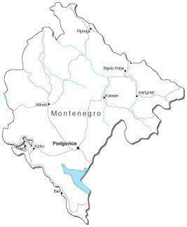 Montenegro Black & White Map with Capital, Major Cities, Roads, and Water Features