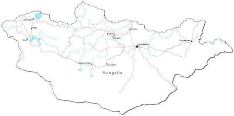Mongolia Black & White Map with Capital, Major Cities, Roads, and Water Features