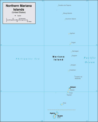 Digital Northern Mariana Islands map in Adobe Illustrator vector format
