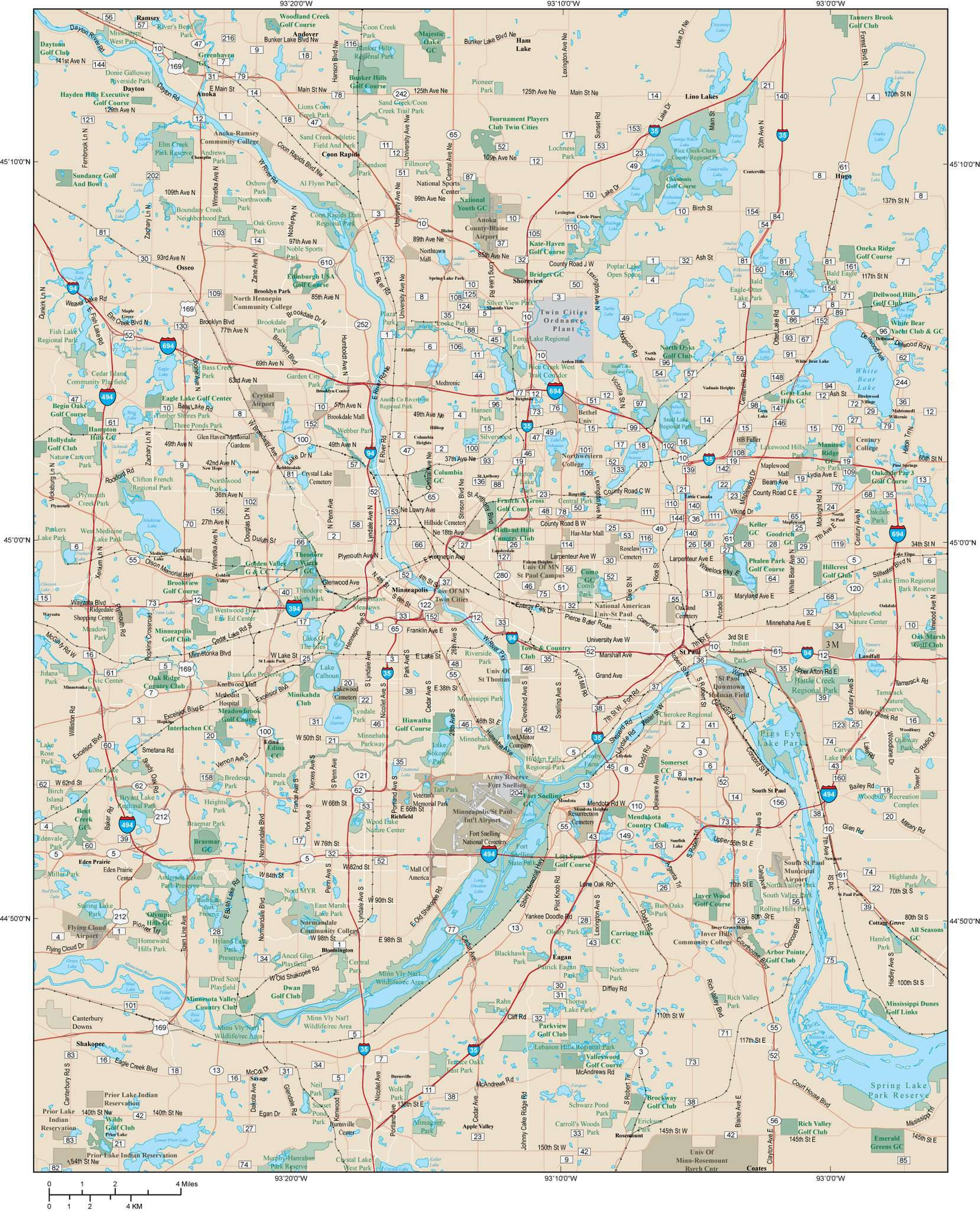 Minneapolis MN and St. Paul MN Map - Twin Cities Metro Area - 980 square  miles - with Major Roads