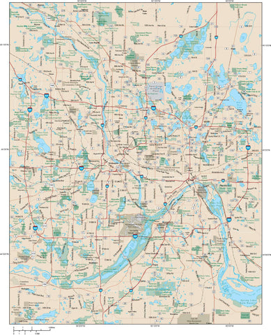 Minneapolis and St. Paul Map Adobe Illustrator vector format MNP-XX-984777