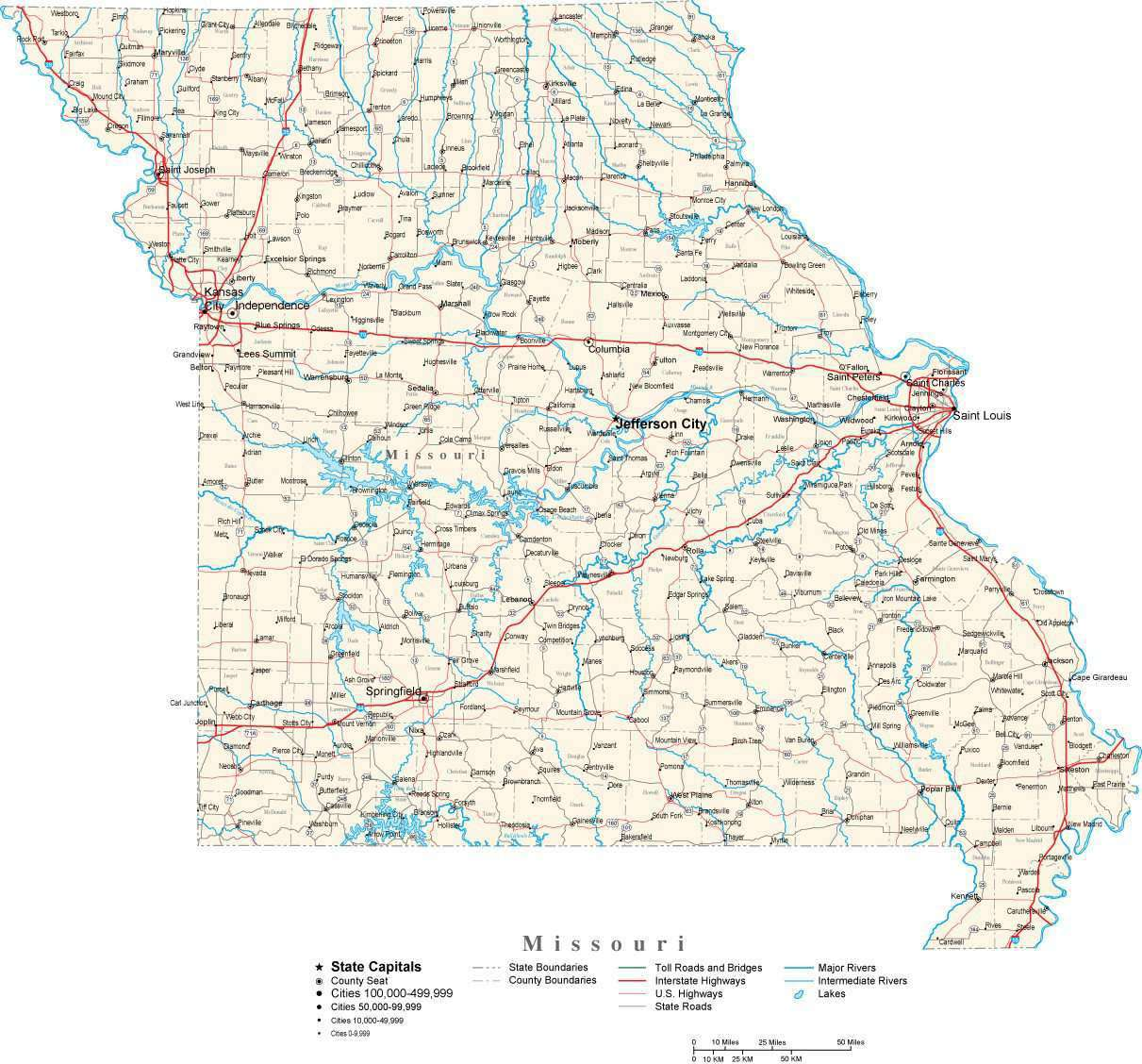 Missouri Map With County Lines.Missouri State Map In Fit Together Style To Match Other States Map