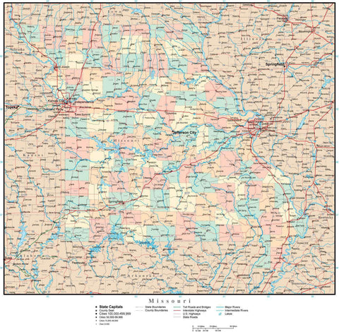 Missouri Map with Counties, Cities, County Seats, Major Roads, Rivers and Lakes